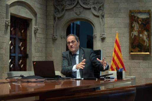 El presidente de la Generalitat, Quim Torra, presidió hoy una reunión telemática conjunta de la comisión para la reactivación econòmica y protección social como consecuencia de la crisis de la COVID-19 (CORECO), y del Consejo de Diálogo Social.