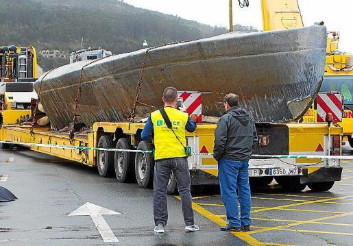 El narcosubmarino fue hallado en la ría de Aldán.