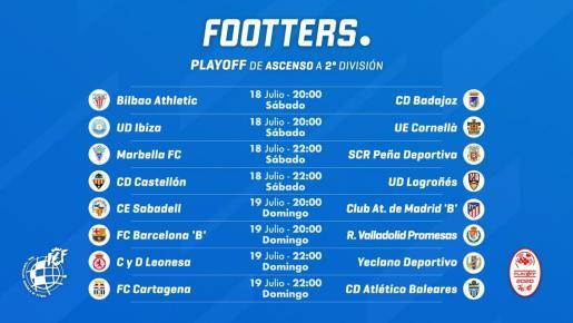 En la imagen, los horarios de la fase de ascenso a Segunda División.
