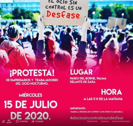 Cartel que anuncia la movilización que tendrá lugar el día 15 frente a la Conselleria de Turisme y el Consolat.