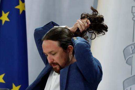 El vicepresidente segundo del Gobierno, Pablo Iglesias durante la rueda de prensa tras el Consejo de Ministros en el Palacio de la Moncloa este martes.