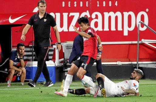 El Mallorca echó en falta las apariciones de Take Kubo -en la foto- y de Ante Budimir para poner en aprietos al conjunto de Julen Lopetegui, que dio un golpe sobre la mesa en la carrera por las plazas que dan acceso a la Champions.