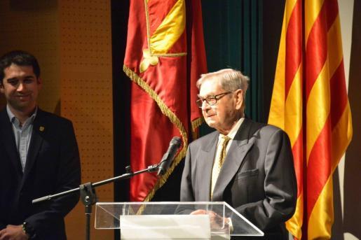 Cosme Adrover, el pasado mes de febrero durante su última aparición pública en un homenaje a los alcaldes de Santanyí que organizó el Ajuntament.