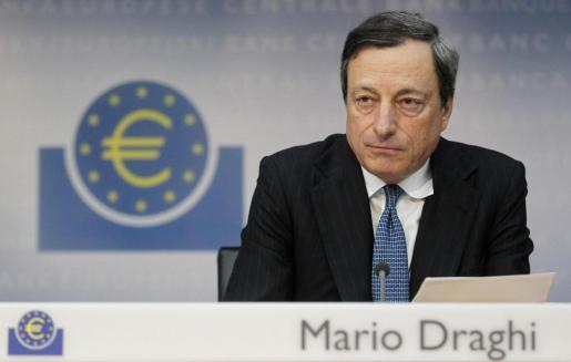 El presidente del BCE, Mario Draghi, durante su intervención.