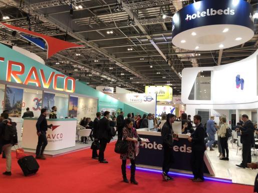 Pabellón dedicado a empresas tecnológicas en la feria World Travel Market de Londres en 2018.