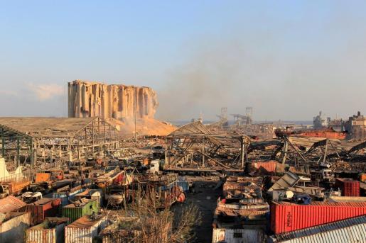 Imagen de cómo ha quedado la zona de la explosión en Beirut.