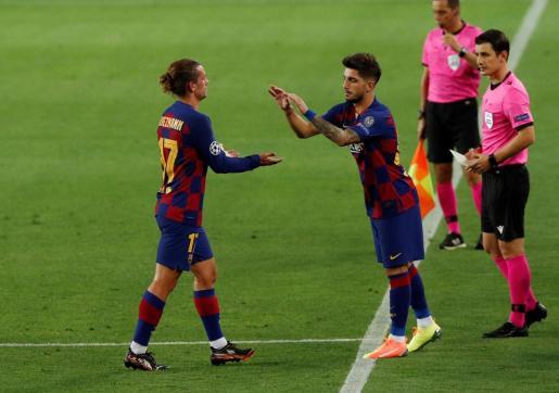 El centrocampista mallorquín del Barcelona, Ramón Rodríguez 'Monchu', debuta en la Liga de Campeones ante el Nápoles al entrar al terreno de juego por Griezmann.