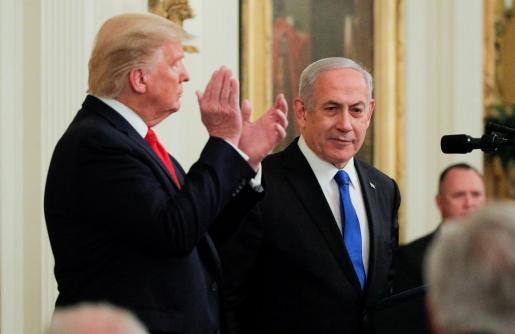 El presidente de Estados Unidos Donald Trump junto al primer ministro de Israel Benjamin Netanyahu.