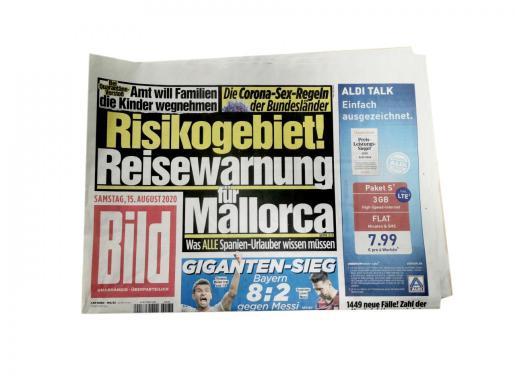 'Bild Zeitung' es el diario más popular de Alemania y el de mayor circulación en Europa. La portada de su edición impresa de ayer decía que ir de vacaciones a Mallorca supone jugarse el tipo.
