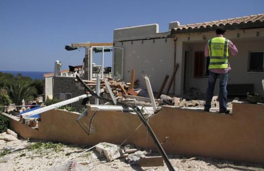 Imagen de la vivienda tras la explosión.