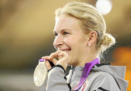 Sarah Hammer tras conseguir su medalla de plata en Omnium.
