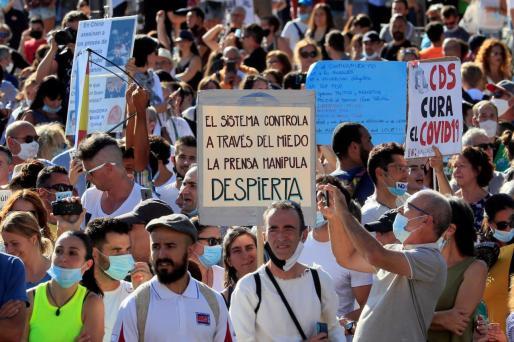 Vista de los asistentes a la manifestación que se celebró en la Plaza de Colón de Madrid.