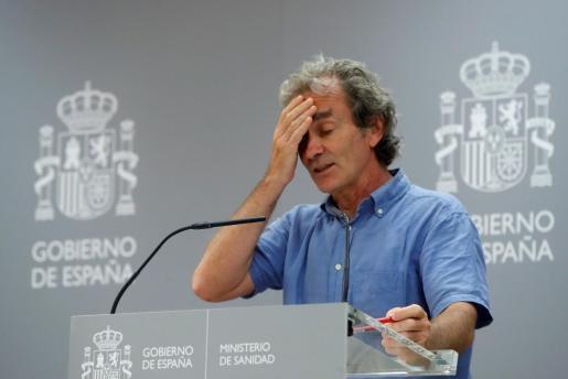 El director del Centro de Coordinación de Alertas y Emergencias Sanitarias, Fernando Simón, en rueda de prensa para dar cuenta de los últimos datos de la pandemia de coronavirus en España.