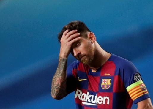 Lionel Messi tras el partido contra el Bayern.