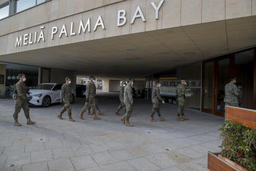 El Ejército preparó el hotel del Palacio de Congresos, el Meliá Palma Bay, para usarlo como hospital en la primera oleada de la pandemia.