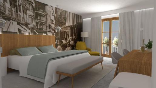 Imagen de una habitación de un hotel urbano de Mallorca.