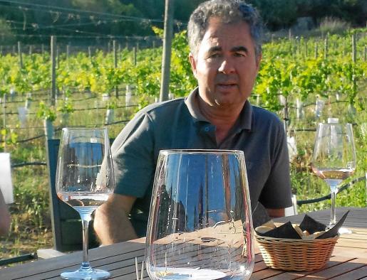 Carlos Feliu con su viñedo al fondo.