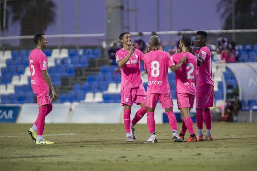 Los jugadores del Mallorca celebrando uno de los goles ante el Castellón.