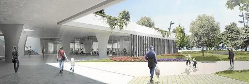 Imagen recreativa de cómo será la nueva sede del instituto municipal en el parque Pocoyó.