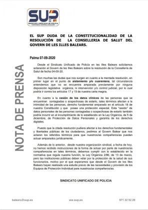 Comunicado del SUP sobre la orden del Govern que regula la vigilancia de las personas que tienen que guardar cuarentena.
