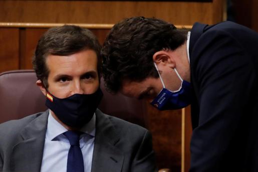El líder del Partido Popular, Pablo Casado (i), conversa con su compañero de partido Teodoro García Egea (d), durante el pleno celebrado este jueves en el Congreso.