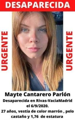 Cartel difundido en las redes sociales por la desaparición de Mayte Cantarero.