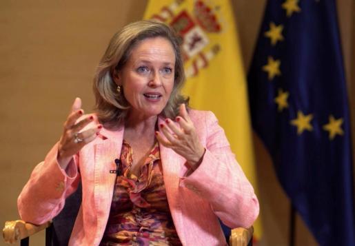 La vicepresidenta tercera y ministra de Asuntos Económicos y Transformación Digital, Nadia Calviño, durante su intervención este miércoles en el Congreso DigitalES Summit 2020,