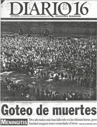 El 14 de febrero de 1997, Diario 16 publicaba que una epidemia de meningitis estaba sacudiendo Madrid y las autoridades la ocultaban.