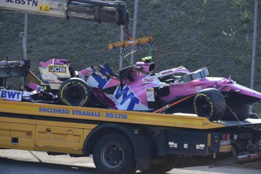 El coche de Lance Stroll, tras uno de los accidentes del Gran Premio de la Toscana.