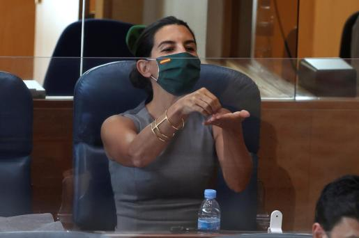 La portavoz de Vox en la Asamblea, Rocío Monasterio, durante la segunda sesión del debate sobre el estado de la región, celebrada este martes en la Asamblea de Madrid.
