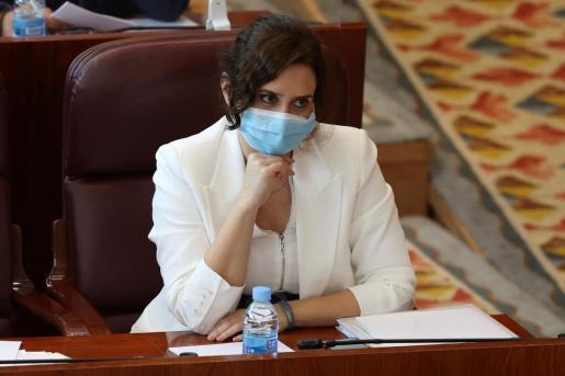La presidenta de la Comunidad de Madrid, Isabel Díaz Ayuso, durante la segunda sesión del debate sobre el estado de la región.
