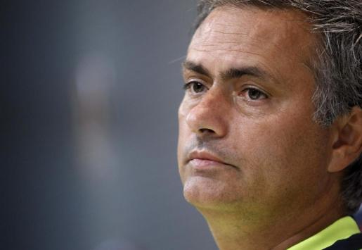 Jose Mourinho, durante la rueda de prensa que ha ofrecido después del entrenamiento con el Real Madrid en Valdebebas, preparando el partido de la Supercopa del próximo jueves contra el FC Barcelona.