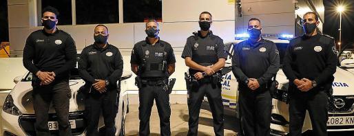 Los miembros de seguridad privada, con agentes de la Policía Local de Inca.
