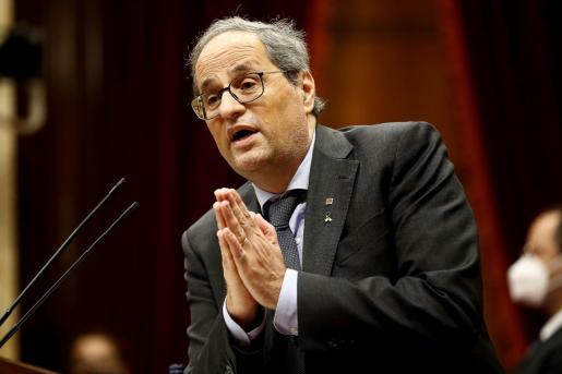 El presidente de la Generalitat, durante su intervención en el debate de política general que anualmente celebra el Parlament de Cataluña.