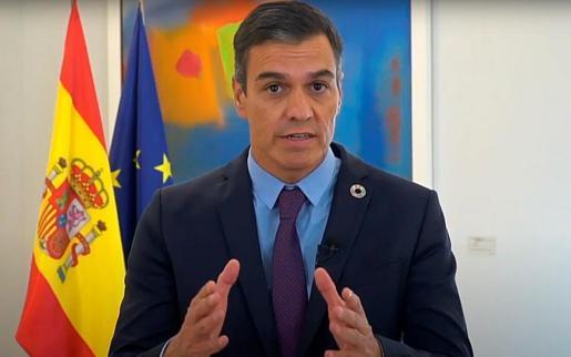 El presidente del Gobierno, Pedro Sánchez durante una intervención virtual en una cumbre medioambiental internacional en Viena