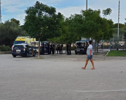 Policías y ambulancias, en sa Riera, donde este domingo se ha producido la agresión a un joven de 21 años.