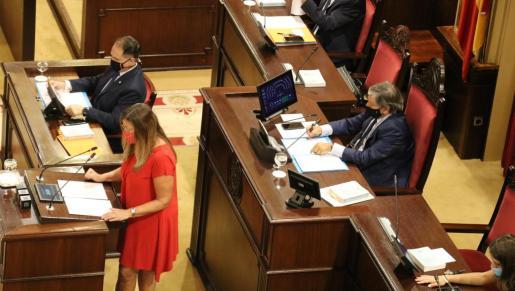 Patricia Gómez durante su intervención en el Parlament.