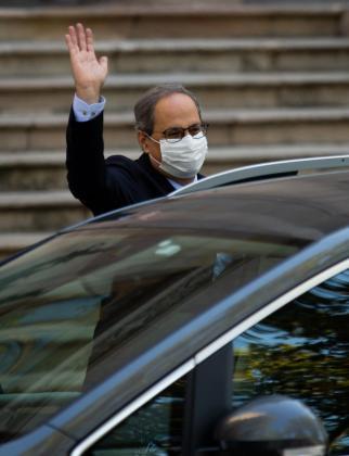 El presidente de la Generalitat, Quim Torra, a su salida este miércoles al Tribunal Superior de Justicia de Cataluña (TSJC).