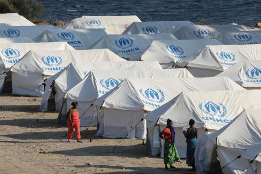 Vista del campo de refugiados Moria en la isla de Lesbos.