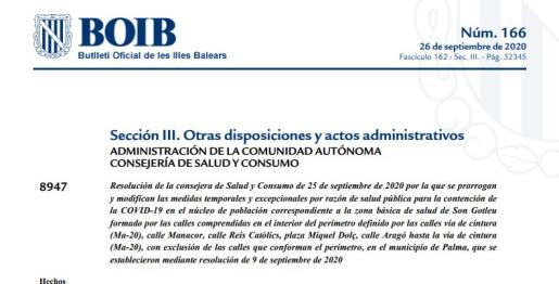 Resolución del BOIB.