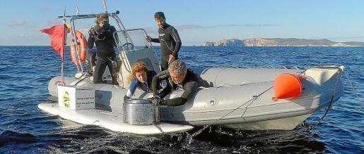 Agustí Torres, Ana M. Abril i Eric Clua: l'equip que lidera Shark Med canviant l'esca del dispositiu de filmació de taurons.