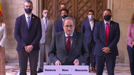 Quim Torra ha hecho una declaración en la Galería Gótica del Palau de la Generalitat