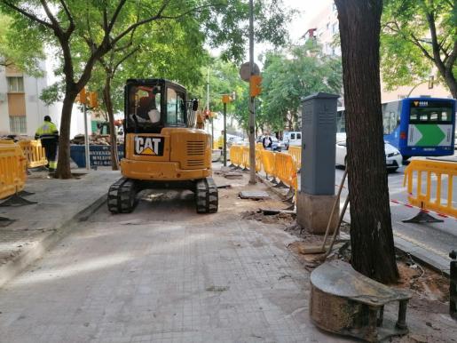 Cort renueva las aceras y amplía los alcorques de la calle Indalecio Prieto.