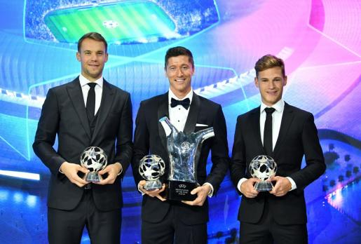 Robert Lewandowski, Manuel Neuer y Joshua Kimmich.