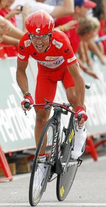 Joaquim 'Purito' Rodríguez, en el tramo final de la contrarreloj de ayer.