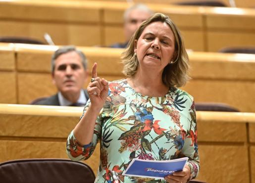 La senadora de los populares y expresidenta del Consell de Mallorca censura a Iglesias, quien se 'vende' como «líder de la transparencia democrática».