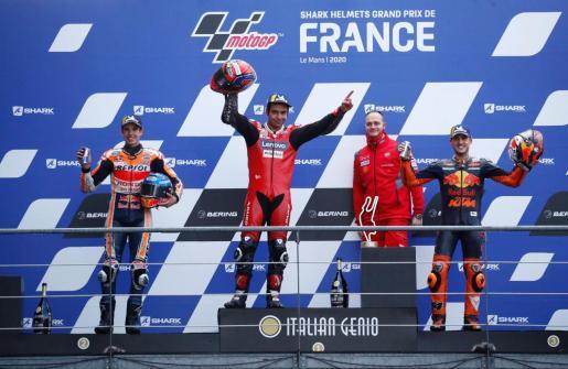 Podio del Gran Premio de Francia de MotoGP.
