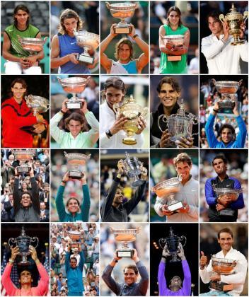 Imágenes de Nadal con sus 20 títulos Grand Slam.