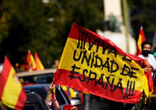 Una pancarta que se ha exhibido este lunes en Madrid.