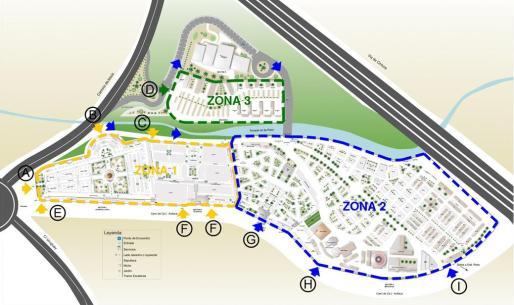 Plano de las zonas en las que se ha dividido el cementario de Palma para Tots Sants.